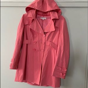 Pink trench coat.